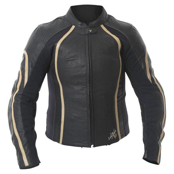 Frank Thomas FTL322 Elegance Black Gold Ladies Leather Motorcycle Jacket Front