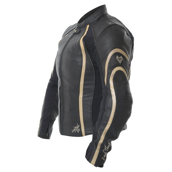 Frank Thomas FTL322 Elegance Black Gold Ladies Leather Motorcycle Jacket Side