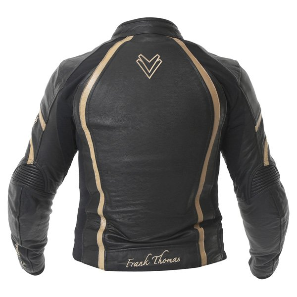 Frank Thomas FTL322 Elegance Black Gold Ladies Leather Motorcycle Jacket Back