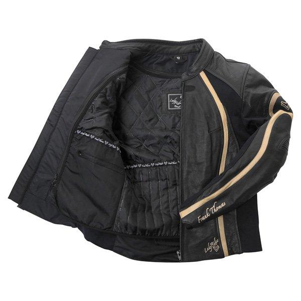 Frank Thomas FTL322 Elegance Black Gold Ladies Leather Motorcycle Jacket Inside