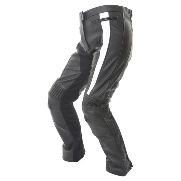 Frank Thomas FTL323 Elegance Ladies Black White Leather Motorcycle Jeans Riding crouch
