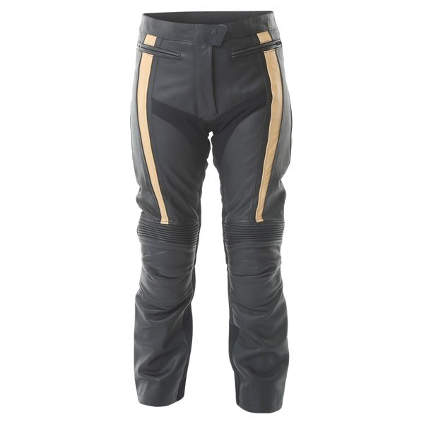 Frank Thomas FTL323 Ladies Black Gold Leather Motorcycle Elegance Jeans Front