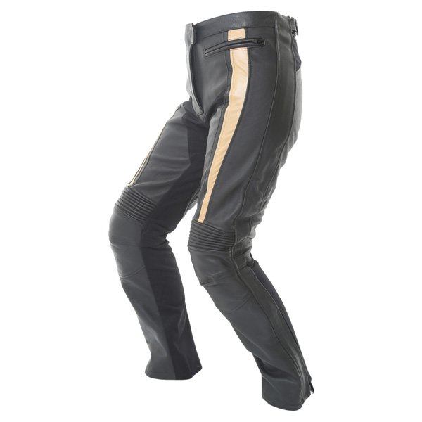 Frank Thomas FTL323 Elegance Ladies Black Gold Leather Motorcycle Jeans Riding crouch