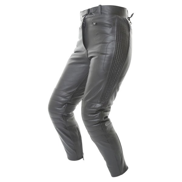 BKS Steve 747 Short Ladies Black Leather Motorcycle Jeans Riding crouch