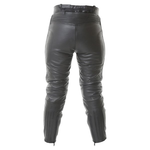 BKS Steve 747 Short Ladies Black Leather Motorcycle Jeans Rear