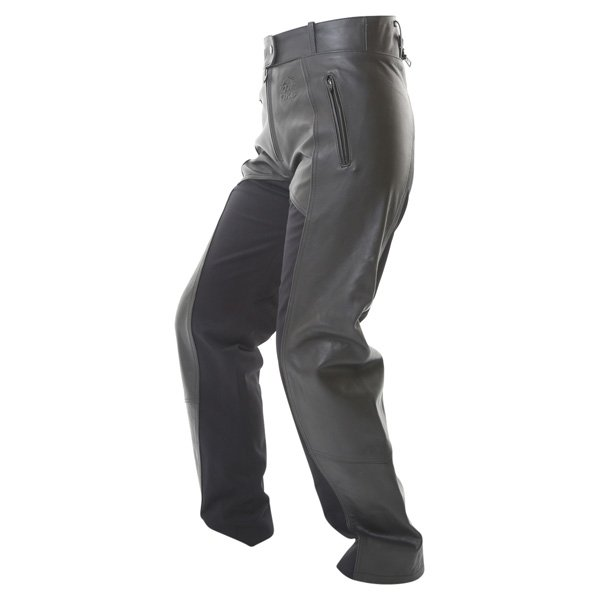 BKS Alex Rica Ladies Black Leather Motorcycle Jeans Riding crouch