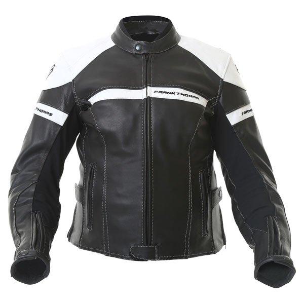 Frank Thomas Camero Black White Ladies Leather Motorcycle Jacket Front