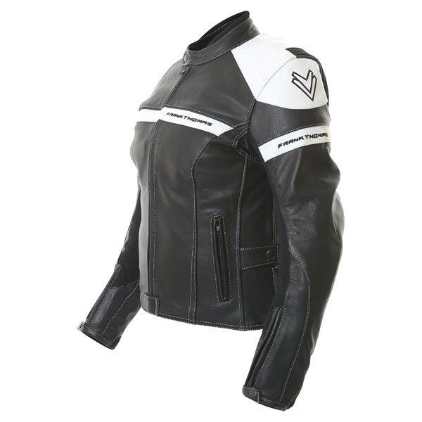 Frank Thomas Camero Black White Ladies Leather Motorcycle Jacket Side