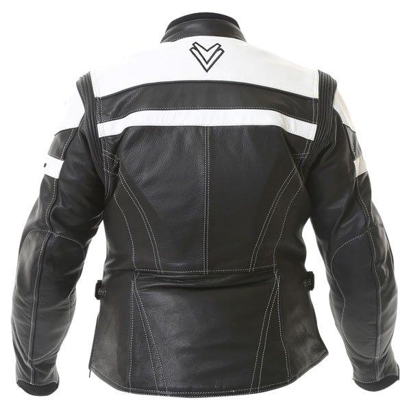 Frank Thomas Camero Black White Ladies Leather Motorcycle Jacket Back