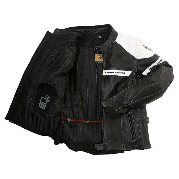 Frank Thomas Camero Black White Ladies Leather Motorcycle Jacket Inside