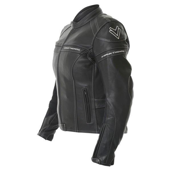 Frank Thomas Camero Black Ladies Leather Motorcycle Jacket Side