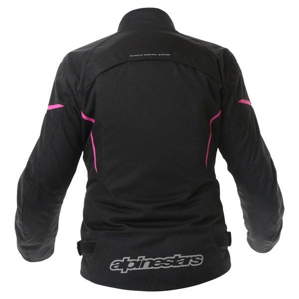 Alpinestars Gunner Ladies Black Pink Waterproof Textile Motorcycle Jacket Back