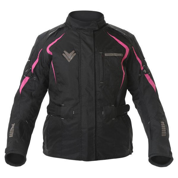 Frank Thomas FTW706 Comet Ladies Black Pink Textile Motorcycle Jacket Front