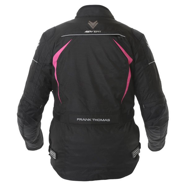 Frank Thomas FTW706 Comet Ladies Black Pink Textile Motorcycle Jacket Back