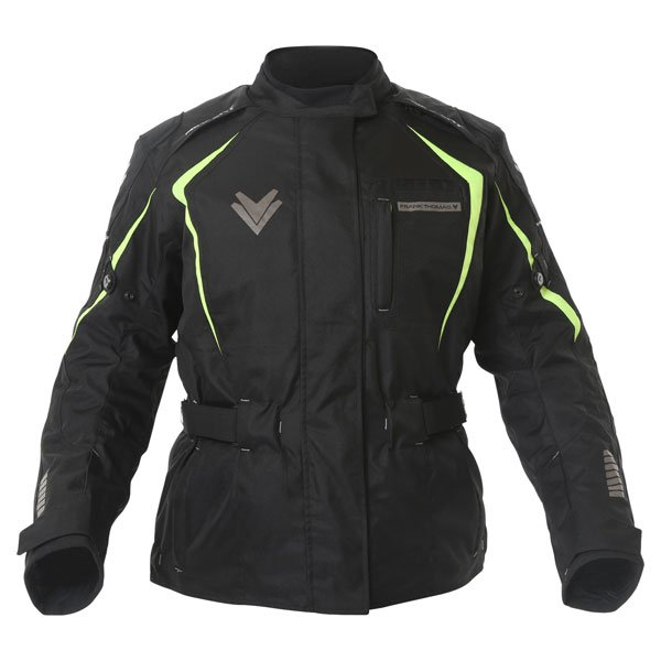 Frank Thomas FTW706 Comet Ladies Black Fluo Yellow Textile Motorcycle Jacket Front