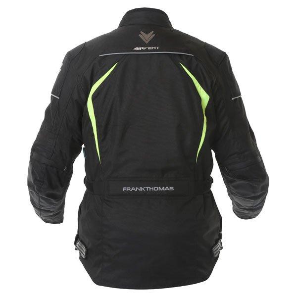 Frank Thomas FTW706 Comet Ladies Black Fluo Yellow Textile Motorcycle Jacket Back