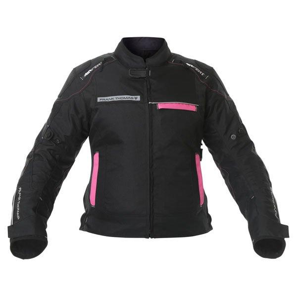 Frank Thomas FTW707 Galaxy Ladies Black Pink Textile Motorcycle Jacket Front
