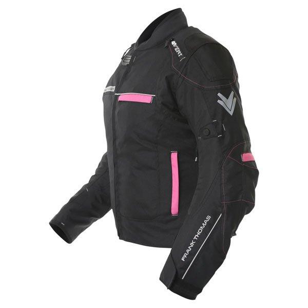 Frank Thomas FTW707 Galaxy Ladies Black Pink Textile Motorcycle Jacket Side