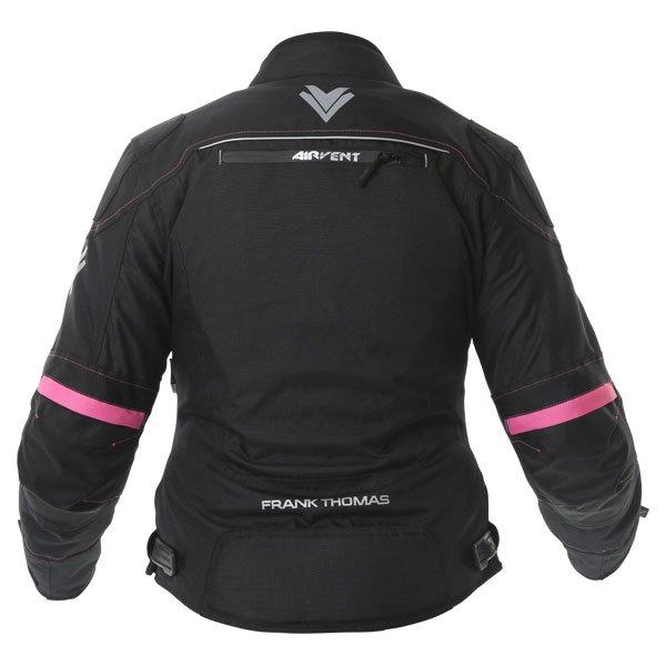 Frank Thomas FTW707 Galaxy Ladies Black Pink Textile Motorcycle Jacket Back
