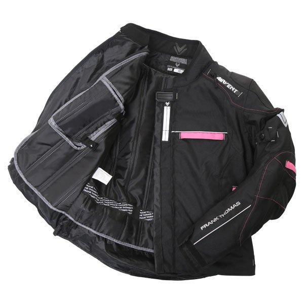 Frank Thomas FTW707 Galaxy Ladies Black Pink Textile Motorcycle Jacket Inside