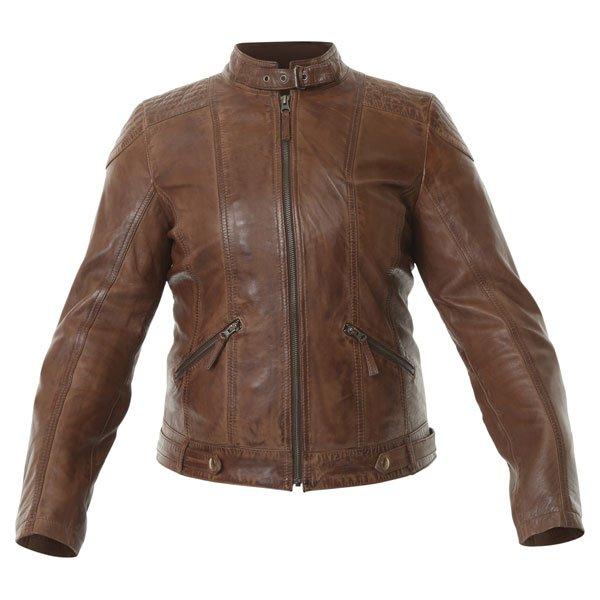 Frank Thomas Alex Brown Ladies Leather Motorcycle Jacket Front