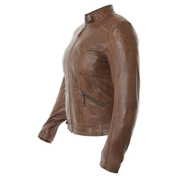 Frank Thomas Alex Brown Ladies Leather Motorcycle Jacket Side