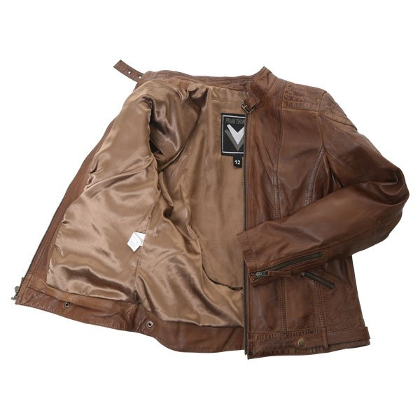 Frank Thomas Alex Brown Ladies Leather Motorcycle Jacket Inside