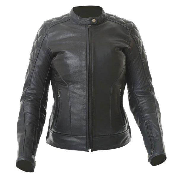 BKS Retro Black Ladies Leather Motorcycle Jacket Front
