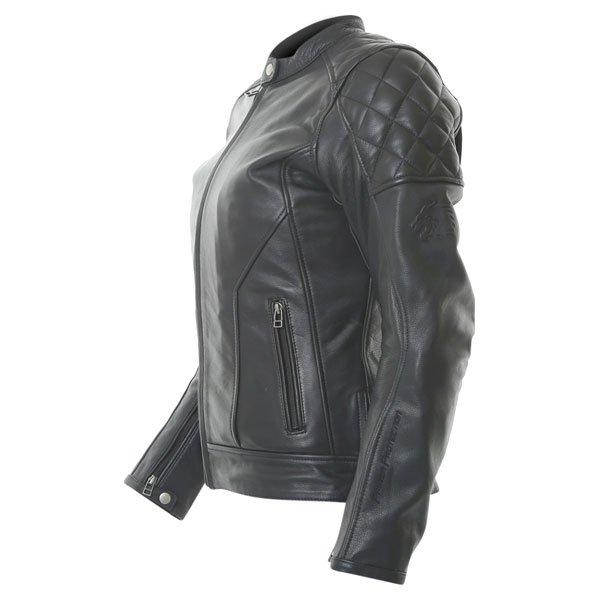 BKS Retro Black Ladies Leather Motorcycle Jacket Side