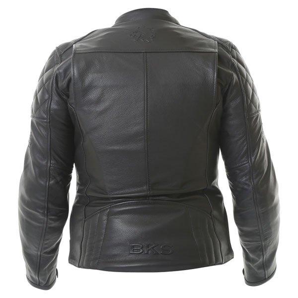 BKS Retro Black Ladies Leather Motorcycle Jacket Back