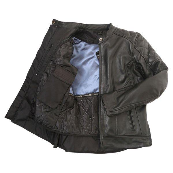 BKS Retro Black Ladies Leather Motorcycle Jacket Inside