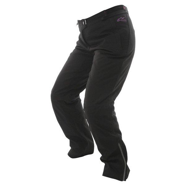 Alpinestars Stella Protean Drystar Ladies Black Purple Waterproof Textile Motorcycle Pants Riding position
