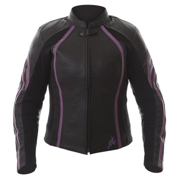 Frank Thomas FTL322 Elegance Black Purple Ladies Leather Motorcycle Jacket Front