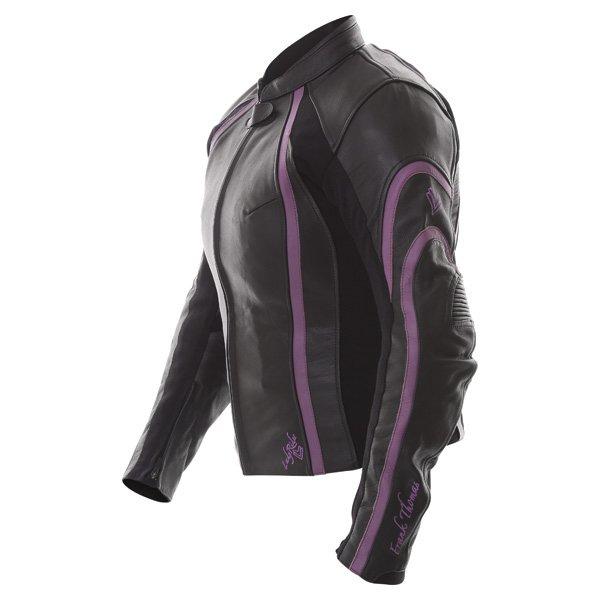 Frank Thomas FTL322 Elegance Black Purple Ladies Leather Motorcycle Jacket Side