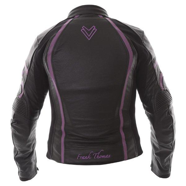 Frank Thomas FTL322 Elegance Black Purple Ladies Leather Motorcycle Jacket Back