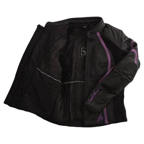 Frank Thomas FTL322 Elegance Black Purple Ladies Leather Motorcycle Jacket Inside