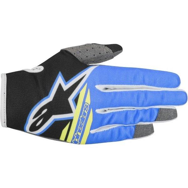 Alpinestars Radar Youth Flight Kids MX Black Aqua Fluo Yellow Gloves Back
