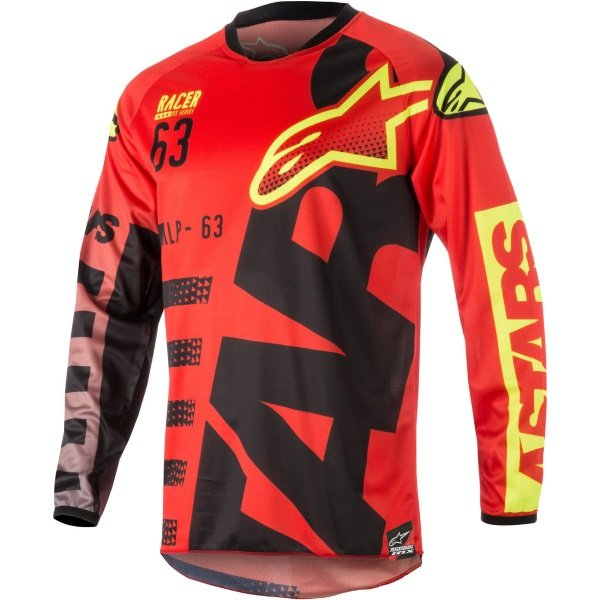 Alpinestars Racer Braap Red Black Fluo Yellow Adults Motocross Jersey 316 Front