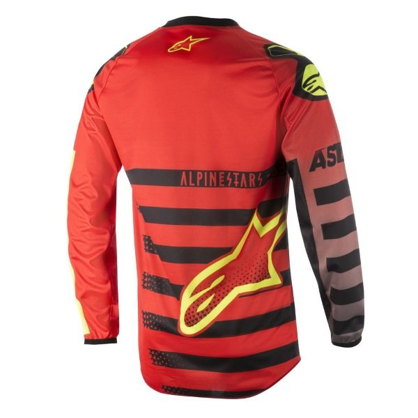 Alpinestars Racer Braap Red Black Fluo Yellow Adults Motocross Jersey 316 Back
