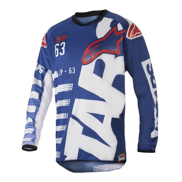 Alpinestars Racer Braap Adults Blue White Red Motocross Jersey 723 Front