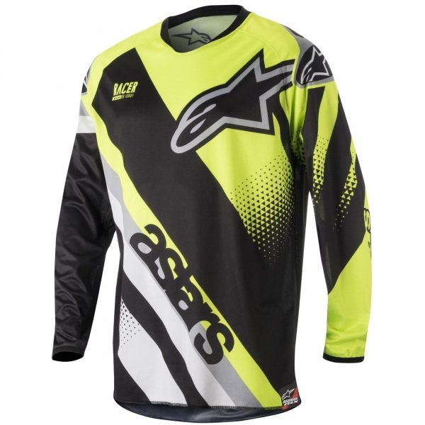 Alpinestars Racer Supermatic Adults Black Fluo Yellow Grey Motocross Jersey 1511 Front