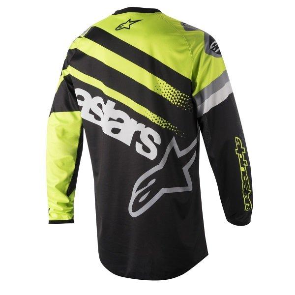 Alpinestars Racer Supermatic Adults Black Fluo Yellow Grey Motocross Jersey 1511 Back