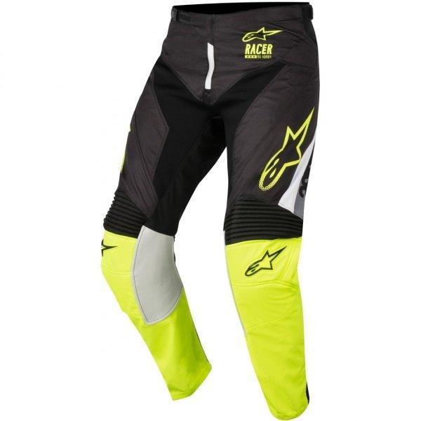 Alpinestars Racer Supermatic Mens Black Fluo Yellow Grey Motocross Pants 1511 Front