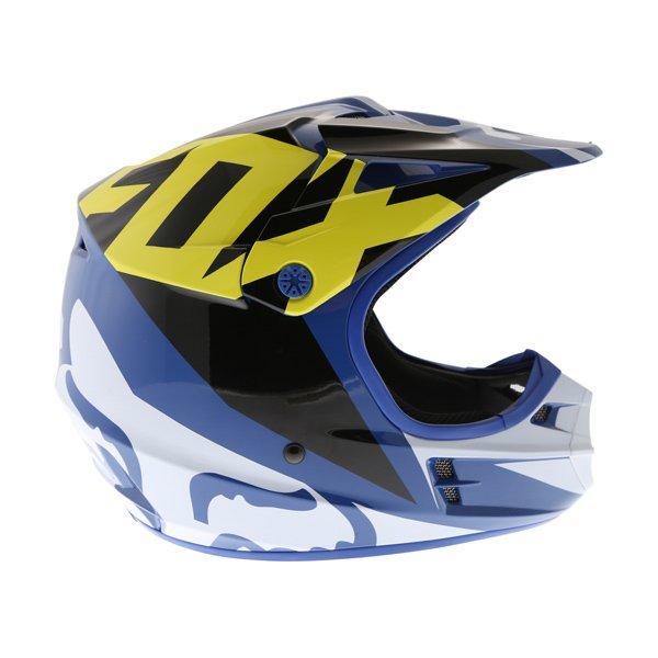 Fox V1 Race Blue Motocross Helmet Right Side