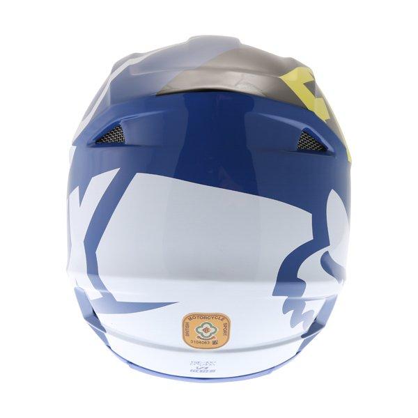 Fox V1 Race Blue Motocross Helmet Back