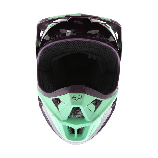 Fox V1 Race Green Motocross Helmet Green Front
