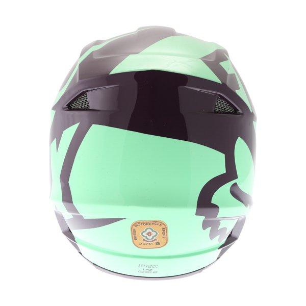 Fox V1 Race Green Motocross Helmet Green Back