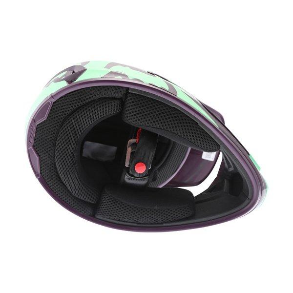 Fox V1 Race Green Motocross Helmet Green Inside