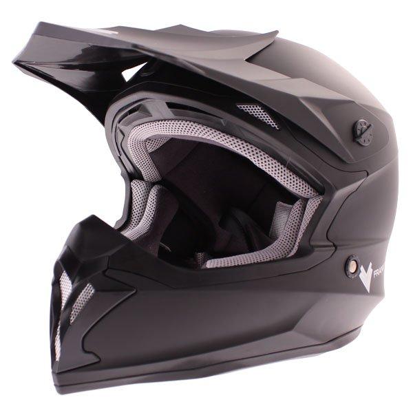 Frank Thomas FT696 MX Matt Black Helmet Front Left