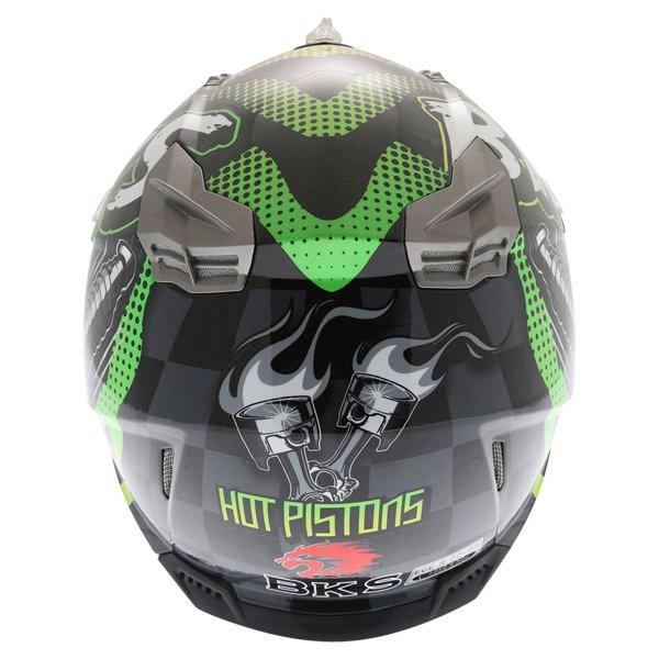 BKS 315 Piston Adult MX Green Helmet Back